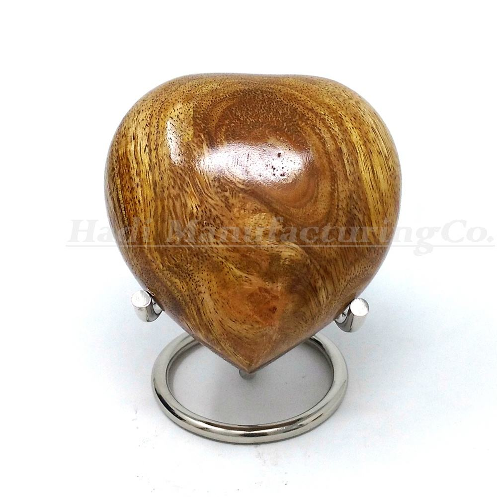 Mango Wood Heart Keepsake Cremation Urn for Ashes By Hadi Manufacturing Co. Made in India