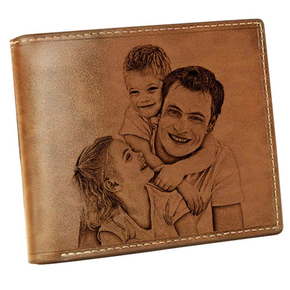 Genuine Leather Print Picture Wallet with 2 ID Windows