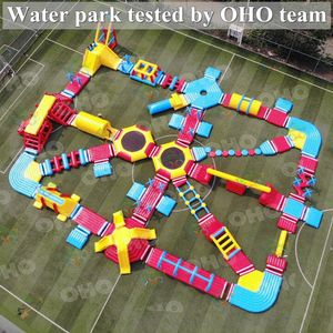 Outdoor Inflatable สนามเด็กเล่นขนาดใหญ่ Commercial Inflatable Floating Water Park