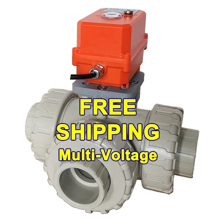Motorized [ Pvc Valve ] 3 Way Valve HEPHIS Free Shipping DN15-DN50 PVC PPH DC12V 24V Control 3 Way On/Off Signal Output Automatic Operated Motorized Ball Valve