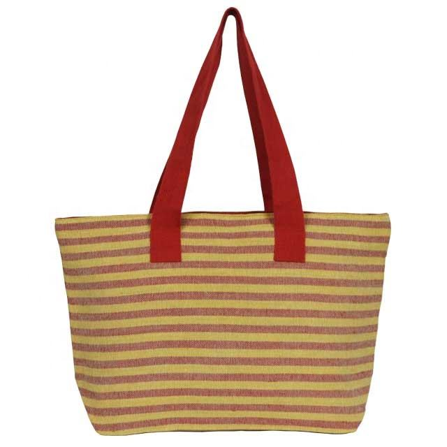 Juco Hand Bag with Red Horizontal Striped with Zipper & Red Handle/ Fashion bag/ Lady Hand Bag SA 8000-2014 Certified India made
