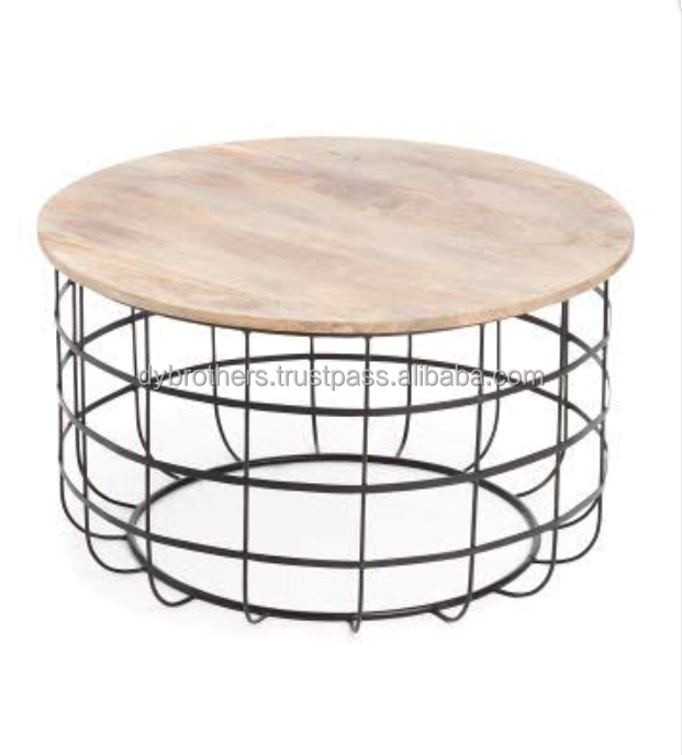 European Style Black Iron Base Marble Table Interior Round Coffee Table