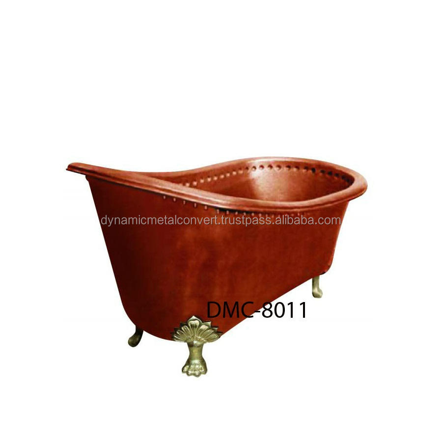 Copper Bath Tub with Floral Foot