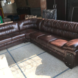 Brown Leather Corner Shell Design Kalamkaar's Sofa