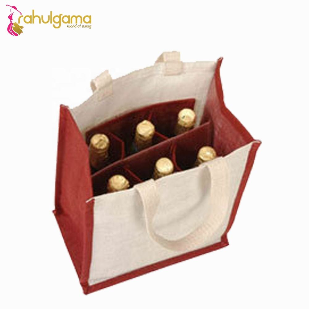 2020 Wholesale cheap plain burlap jute 6 bottle wine bags