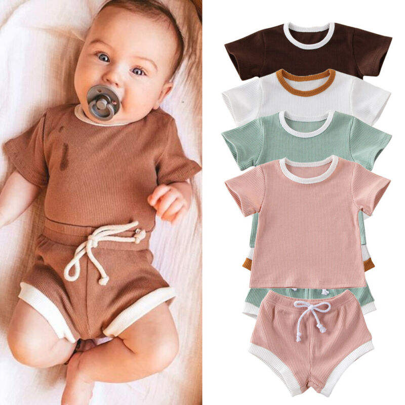 2020 Toddler Boys Girls Summer Clothing Ribbed Knitted Short Sleeve T-shirts+Shorts sets baby clothes kids clothing