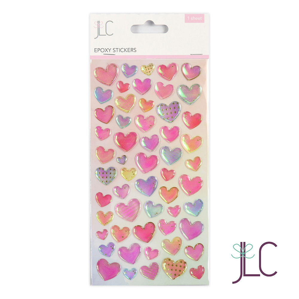 High quality heart shaped transparent epoxy resin sticker
