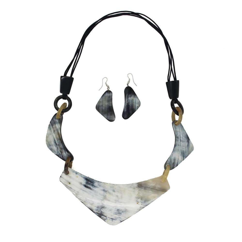 Handmade Natural Buffalo Horn Necklace With Earring For Women