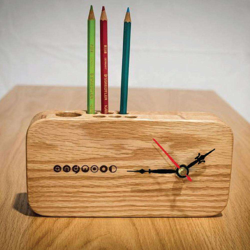 Wooden clock with pen holder, wooden quartz clock made in Vietnam now on sale