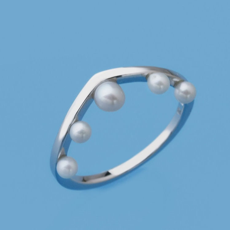 New Arrival Classic 925 Organic Round Shape Cream White Freshwater Pearl Ring Rhodium Plated