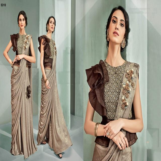 Designer Fancy Cut-werk Beige Party-wear Wedding Saree