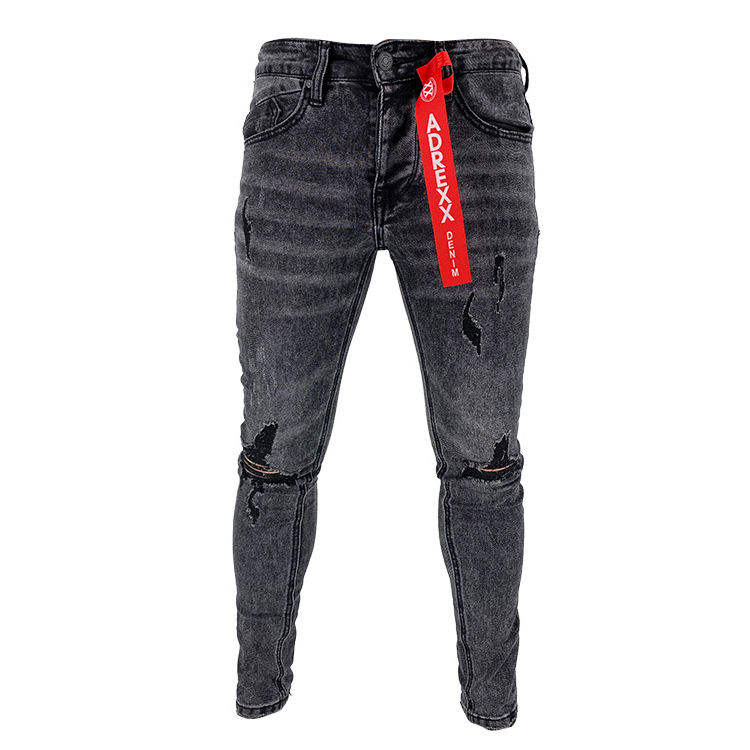 Factory price sexy comfortable urban brushed denim mens black jeans