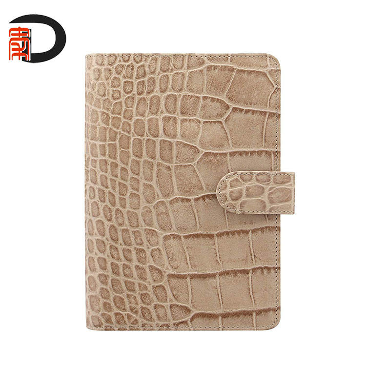 Good quantity PU leather brown crocodile leather weekly planner wih 6 ring binder