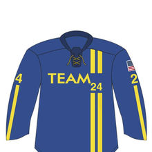 Light Navy with Yellow line ICE Hockey Jersey sublimated print, New design of ICE Hockey uniform