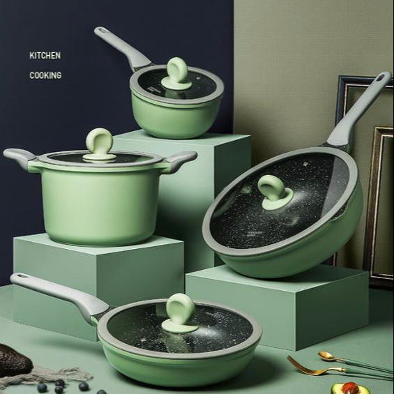 GREENERY DIE-CASTING SERIES non-stick cookware sets pan wok big casserole sauce pan avocado green
