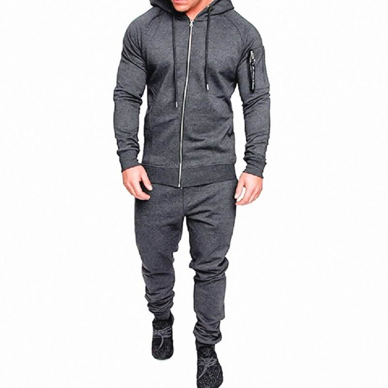 International Men Gym Fashion Grey Fleece Tracksuit