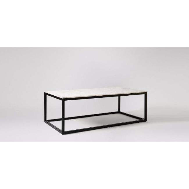 FRENCH TRUNK CHEST RECTANGULAR BLACK MODERN BLACK END COFFEE TABLE MARBLE SET