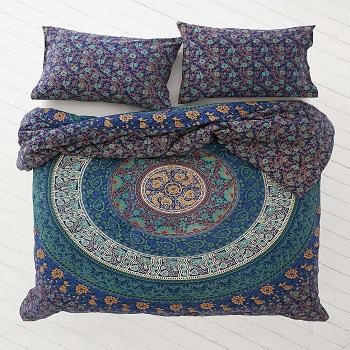 100% Cotton King Size Bohemian Mandala Print Duvet Cover With Pillow Case Cover Bedding Set