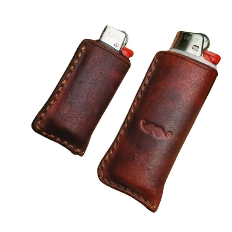 Custom Embossed Leather Lighter Case Engraved Holder for bic Lighters