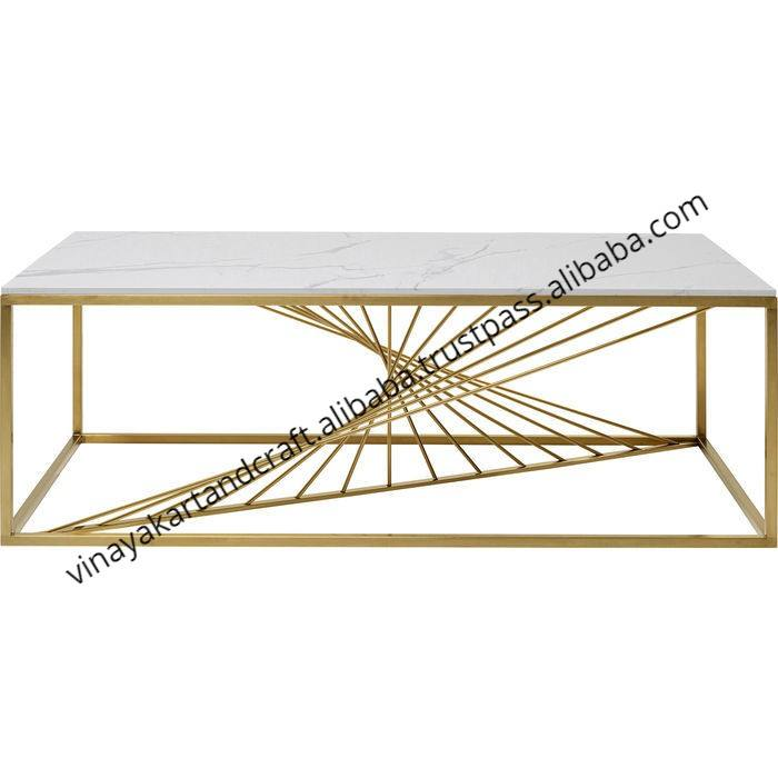 Luxury Modern Design Golden Finish Coffee Table Jodhpur Antique Golden Finish Marble Coffee Table Living Room Coffee Table