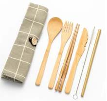 Travel bamboo utensil set with case