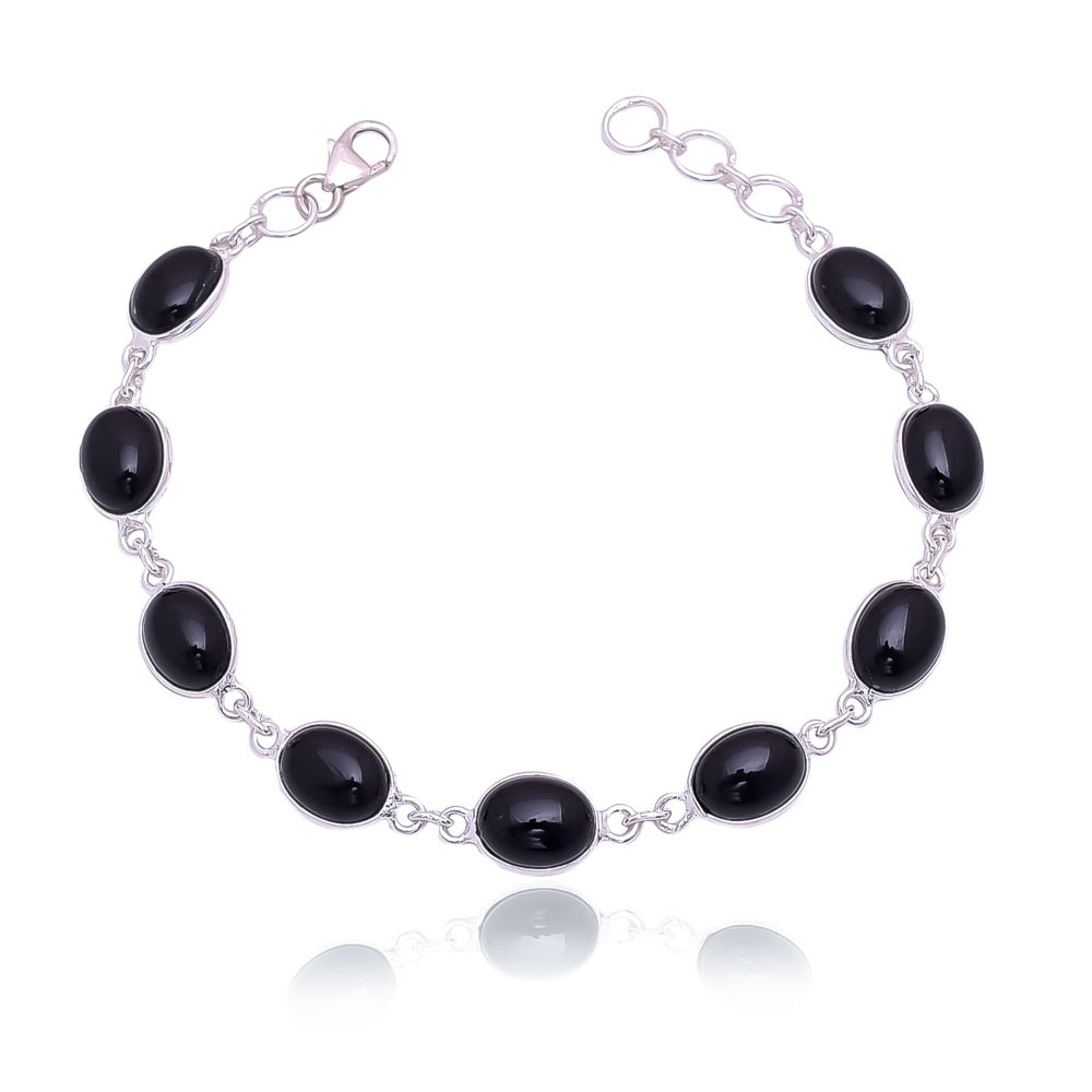 925 Sterling Silver Natural Black Onyx Gemstone Womens Bracelet Wholesale Jewelry Bangkok Fashion Jewelry 925 Bangkok Bracelets