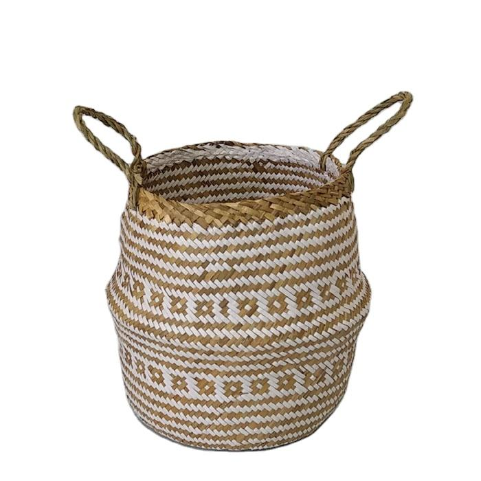 Vietnam wholesale handmade seagrass craft wicker home derco rattan houseware woven flower pot