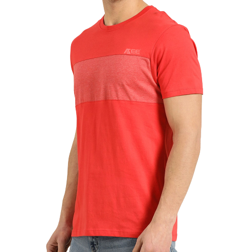 Custom Men Coral Red Colour blocked Pure Cotton Casual T-shirt