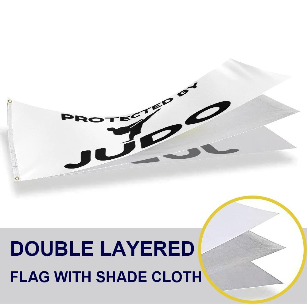 Wholesale 2PCS Flags Factory Direct Protected By Judo Funny Martial Arts Flags 3x5 Feet Waterproof Decoration Polyester Flag