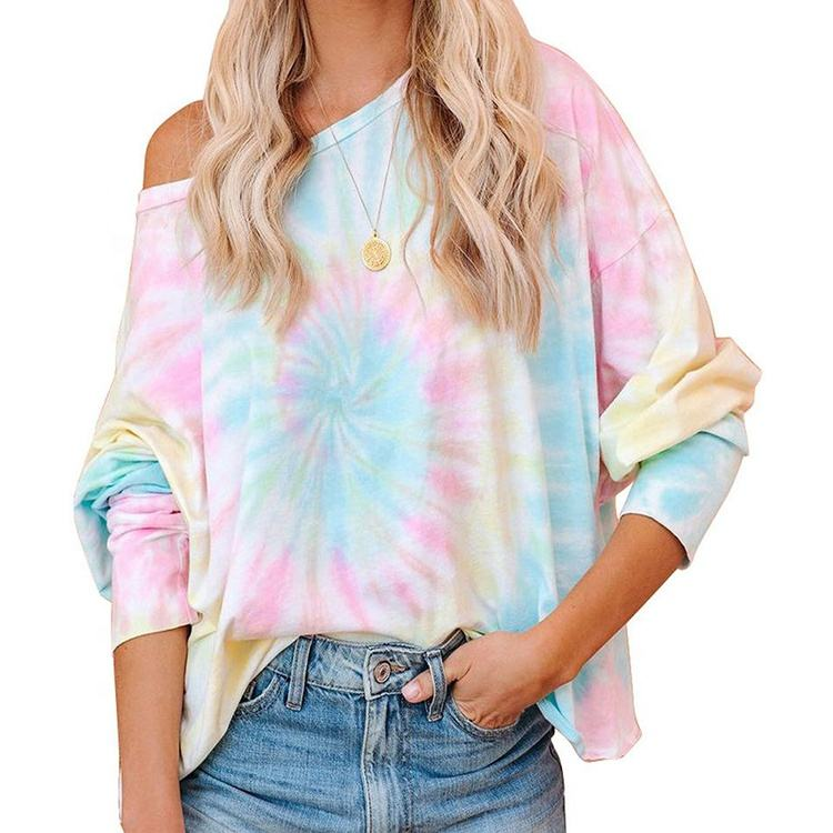 custom high quality brand women long sleeve tie dye printed design round neck ladies t-shirt