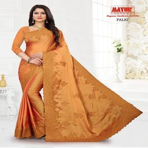 Poly Silk Embroidery pearl Stone Work Wedding Saree Yellow Free Size