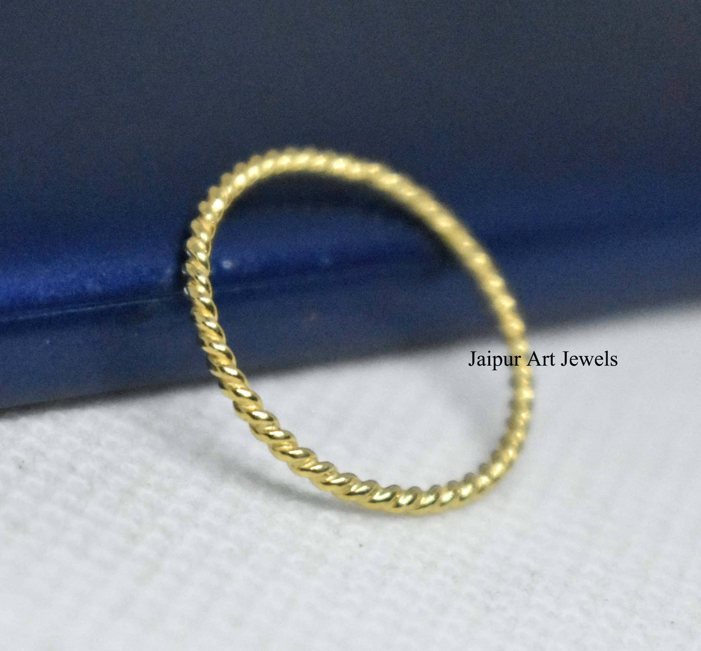Pinky Minimal Stacking Gold Plated Thin Midi Manufacturer of Handmade Twist Band Ring