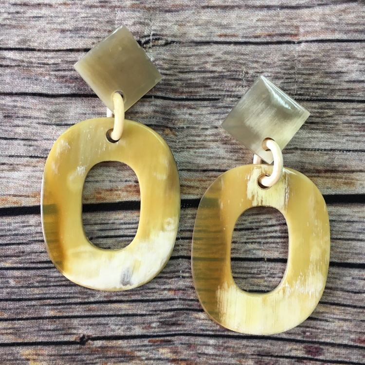 Made in Vietnam products handmade gift buffalo horn white earrings jewelry 2020 hot sale