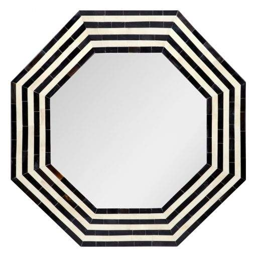 Unique Octagonal Monochrome Bone Inlay Interior decor mirror
