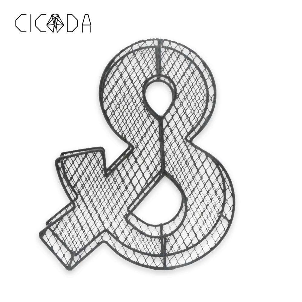 "CICADA Craftwork ""&"" Hanging Display Rack Wall Mount Metal Wall Word Sculpture Wall Decor (Home)"