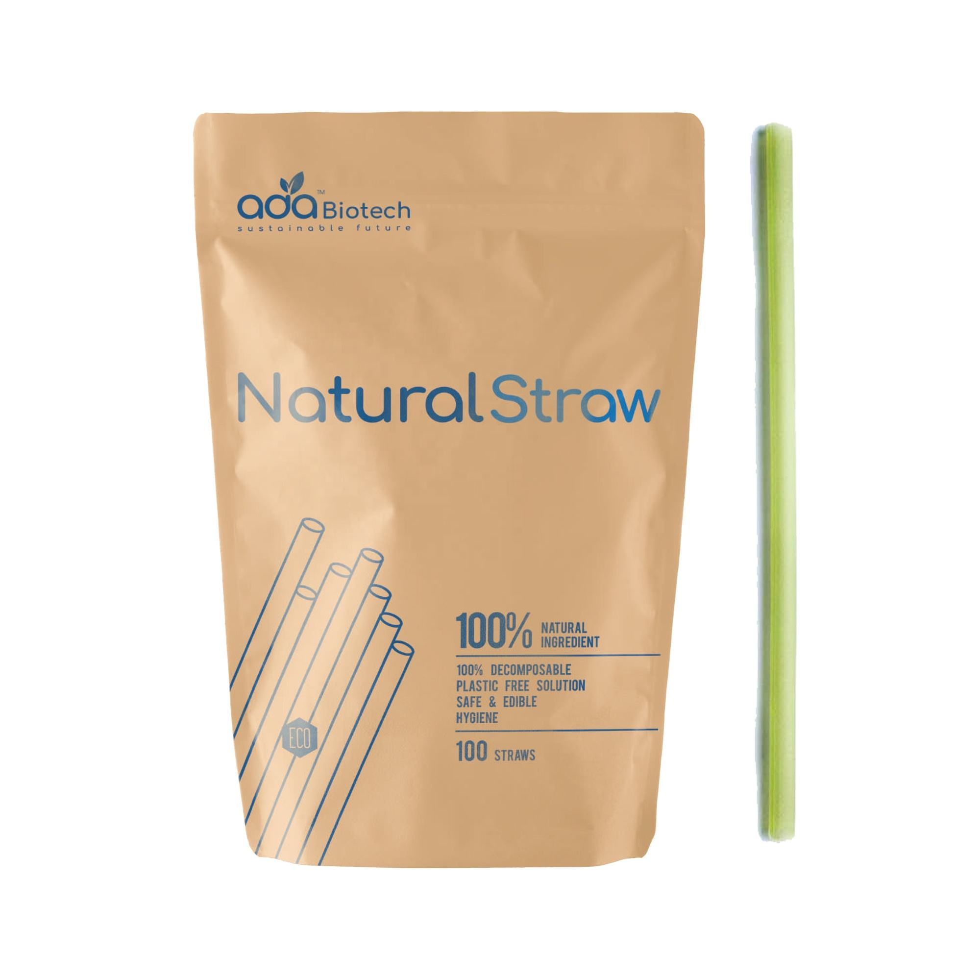 100% Biodegradable Eco Friendly Rice Tapioca Drinking Straw All Natural Disposable (ADA Biotech) 7.5mm
