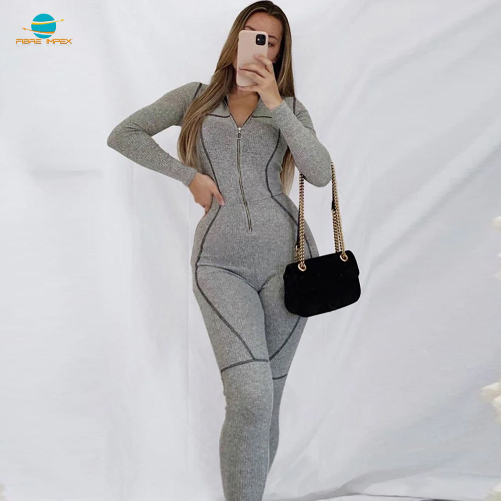 Winter Jumpsuit New Arrivals Winter Sexy zipper 1 Piece Rompers Women Long Sleeve Jumpsuit