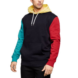 Hot Selling Unisex Color Block Hoodie Contrast Sleeve Multi Color Hooded Sweatshirt