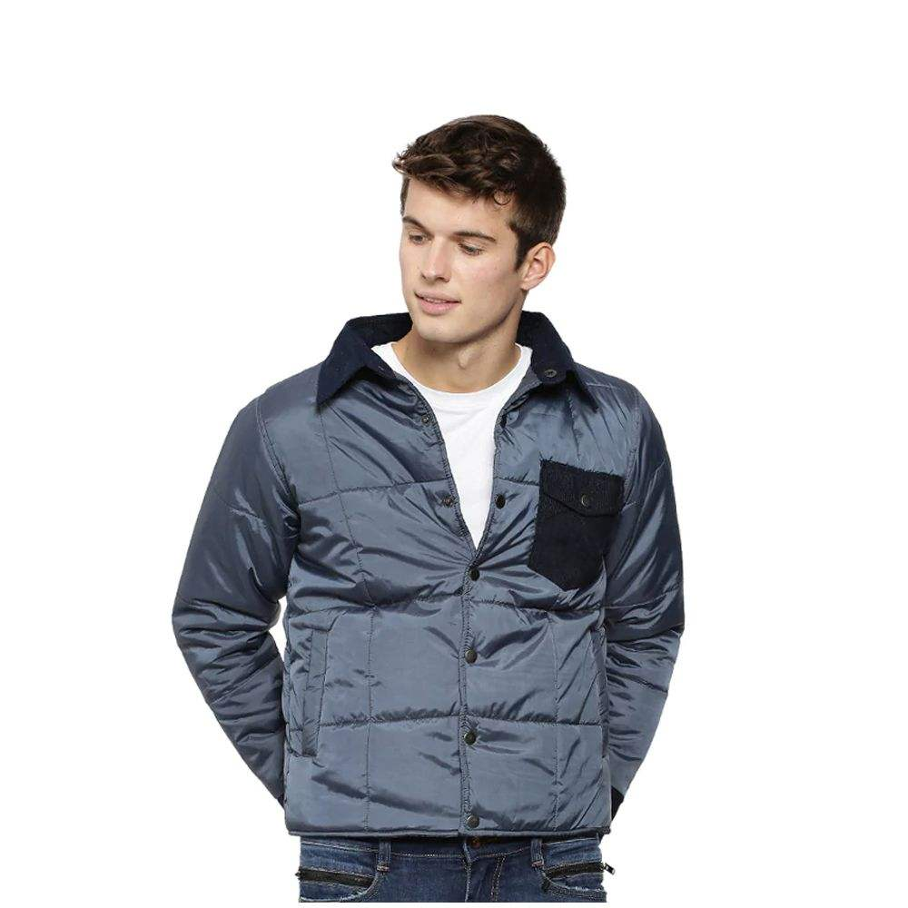 Satin Puffer Jackets For Men Outdoor Wear with Front Pocket Design With Turn Down Collar