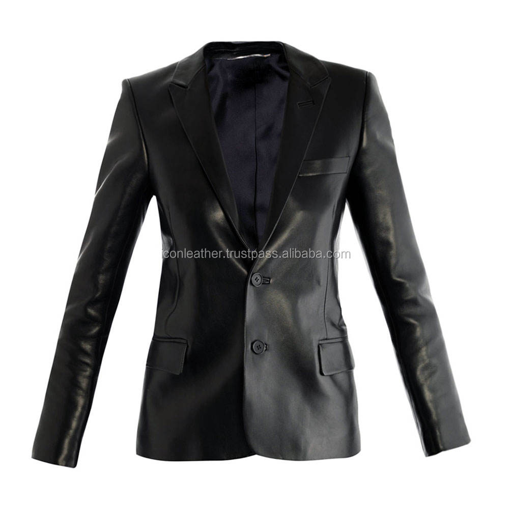 Customized Sheep Nappa Genuine Leather Blazer For Men - 2 Button - Sheep Skin - All Colors