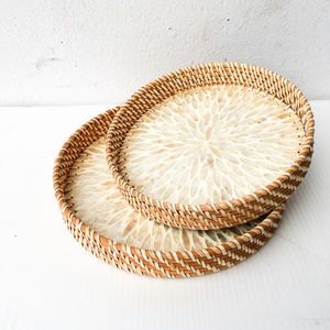 New European style Wholesale Handmade Round Rattan Moisac Serving tray for dinning table