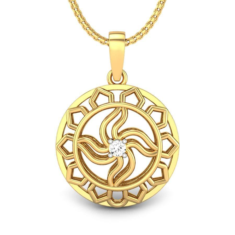 Hot Selling and Casual Wear Real Round Cut Diamond Pendant Set Without Chain In Yellow Gold