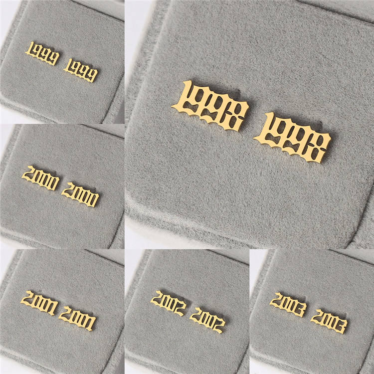 Personalized Customize Cheap Price 1980-2019 Birth Numeral Stainless Steel Earrings Number Year Stud Earrings
