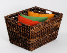 Bacbac/Wire Rectangular Tapered Storage in Braided open Weave design, with cutout handles, natural