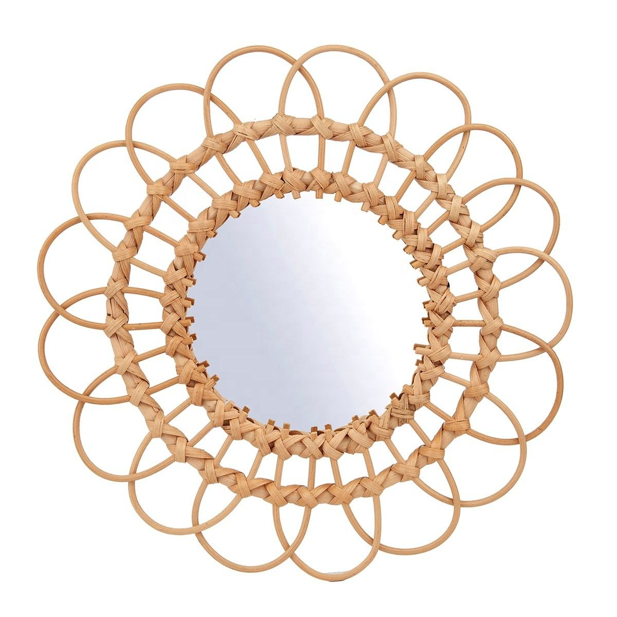 Round Wall Mirror Hanging Mirror with Rattan Frame