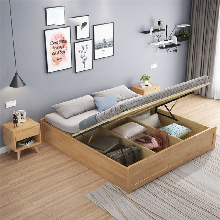 Solid Wood Nordic japan Style Bedroom Sets solid Wood with drawer Storage Box Bed Bedroom Furniture For Hotel