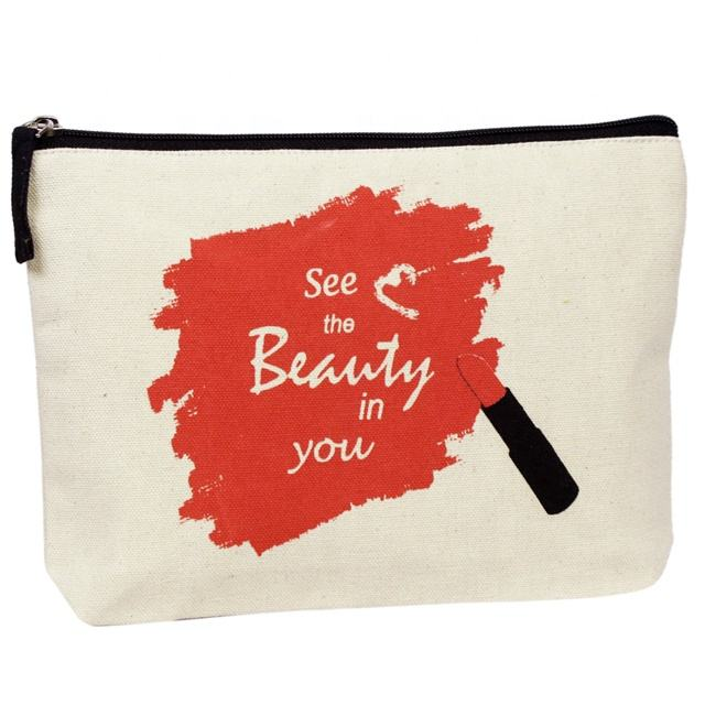 Natural Canvas Cosmetic Pouch/ Cosmetic Bag / Pouch Bag mit ziegel farbe Screen Print & Zipper SA 8000-2014 Certified India gemacht