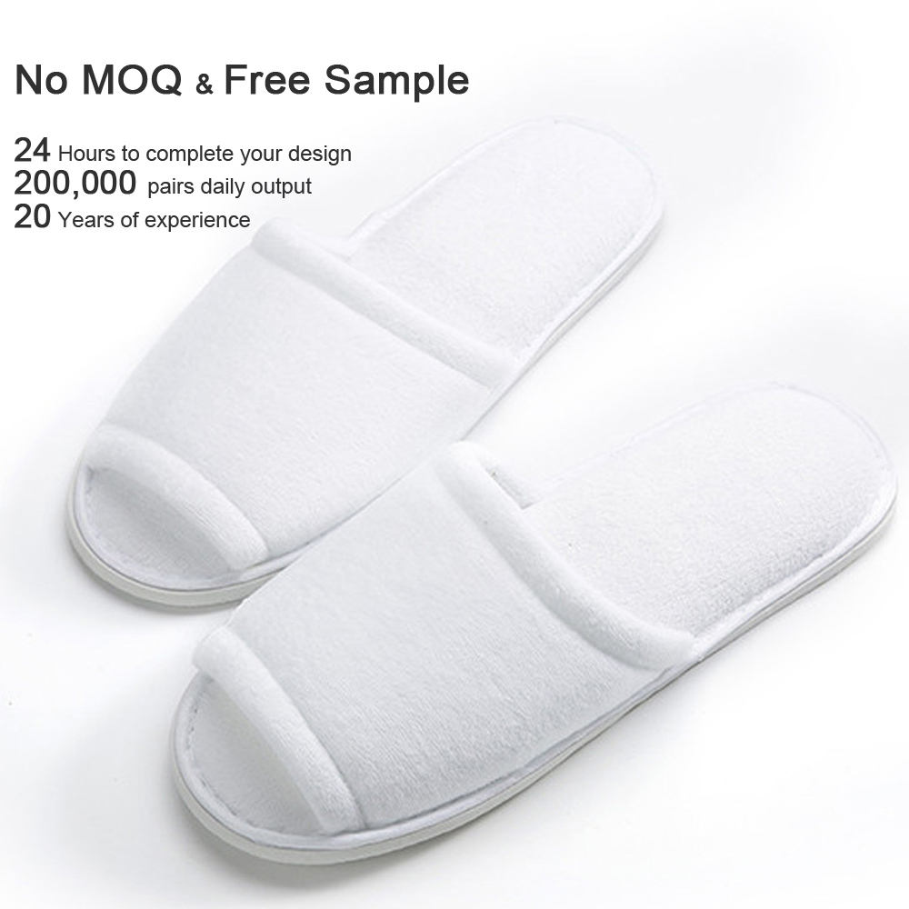 indoor Hotel Spa wholesale slippers Open Toe Disposable for Men and Women Fluffy cotton velvet Deluxe Padded Sole