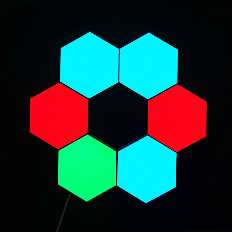 Low Price 6PCS Hexagonal DIY Honeycomb Quantum Touch Sensitive Modular Decoration Wall Lamp Geometry Assembly LED Night Light