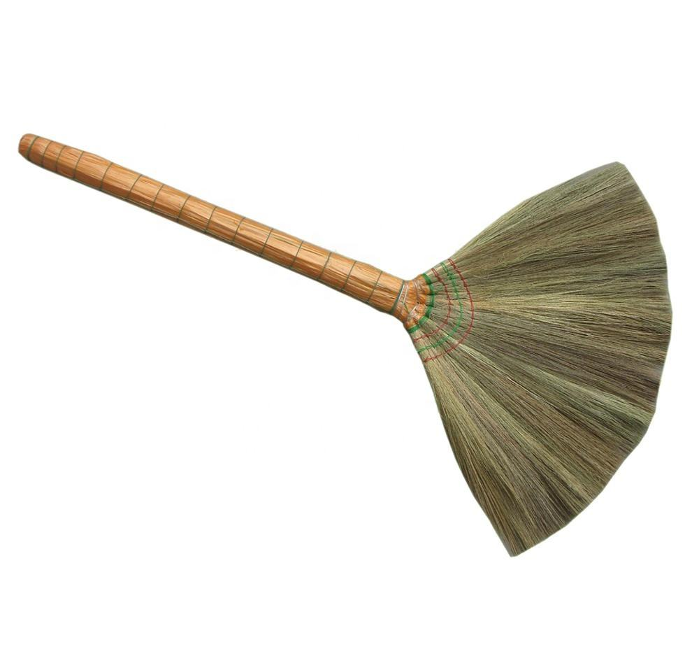 Natural grass broom with long handle